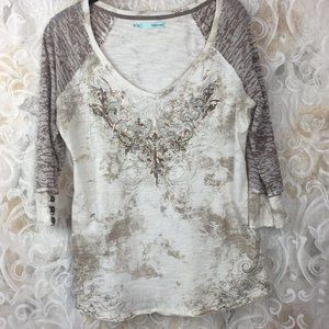 Maurices M tan brown 3/4 sleeve sequin mesh